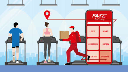 Online shopping and fast delivery concept. Delivery man and parcel box with fast express deliver get through mobile phone application. Target to customer transportation at fitness center.