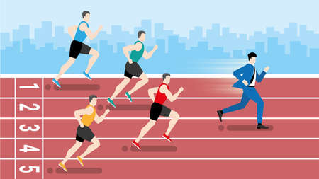 Funny concept. Faster business man running win over runners athlete in race track. Metaphor idea. Hurry up in rush hour of occupation. Vector illustration flat style minimal design.
