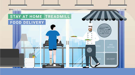 Online food and fast delivery concept. Chef as business owner get through mobile screen for serving food. Application technology service food from everywhere. Man order from treadmill in living room.