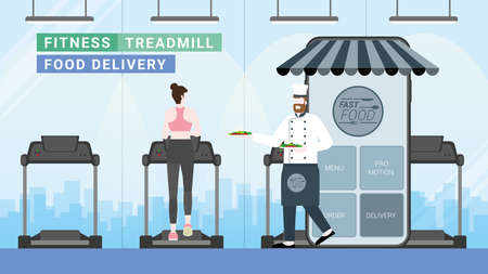 Online food and fast delivery concept. Chef as business owner get through mobile screen serving food. Application technology service food from everywhere. Girl order from treadmill in fitness center. 向量圖像