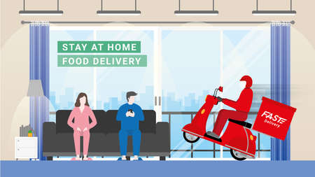 Delivery man bike arrive to customer house with fast. Consumers change behavior stay at home and order everything from online. Logistic company transportation service competition is express deliver.