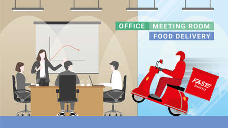 Delivery man bike arrive to office meeting room with fast. Consumers change behavior stay at workplace and order everything from online. Logistic transportation service competition is express deliver