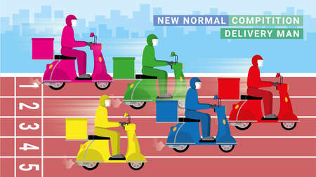 Race track of delivery man from logistic company. New normal business model competition is fastest motorcycle. Fast concept competitor transportation of food drink everything from online shopping. 矢量图像