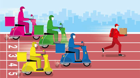 Delivery business competition concept. Faster deliveryman running win over motorcycle in race track. Metaphor idea of entrepreneur try to fight with no give up. Vector flat style minimal design. 向量圖像