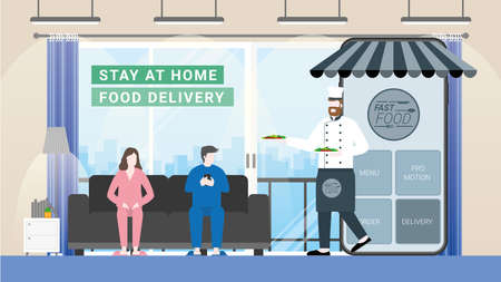 Online food and fast delivery concept. Chef as business owner get through mobile screen for serving food. Application technology service food from everywhere. Man order from sofa in living room.
