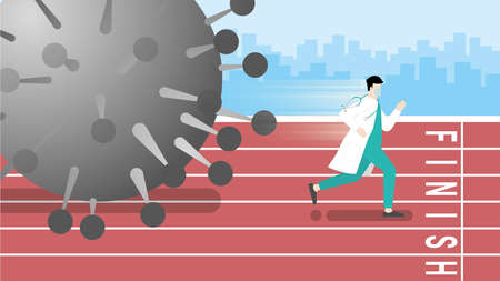 Asian medical win over COVID-19 corona virus pandemic impact. Doctor running in race track with fast speed for victory. Survive, Danger, Risk and Problem solving concept.
