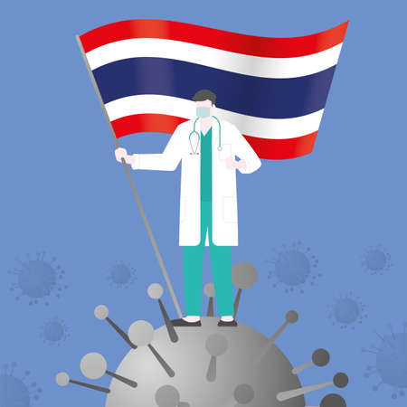 Doctor win over COVID-19 corona virus after pandemic outbreak. Holding THAILAND country flag. Victory and success concept illustration vector. Flat and minimal style