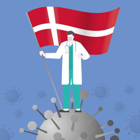 Doctor win over COVID-19 corona virus after pandemic outbreak. Holding DENMARK country flag. Victory and success concept illustration vector. Flat and minimal style
