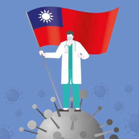 Doctor win over COVID-19 corona virus after pandemic outbreak. Holding TAIWAN country flag. Victory and success concept illustration vector. Flat and minimal style