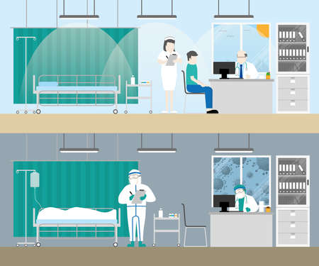 Hospital examination room before and after covid19 corona virus pandemic patient death in medical bed sad doctor and nurse with personal protective equipment cartoon flat style gloomy lifeless concept Vetores