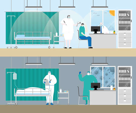 Hospital examination room before and after covid-19 corona virus pandemic patient dead in medical bed doctor and nurse with personal protective equipment cartoon flat style gloomy lifeless sad concept