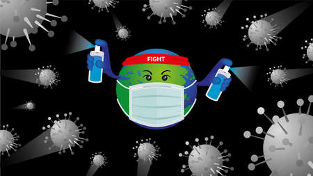 virus attack around the world wear surgical mask and use medical alcohol spray to protect and fight surrounding virus covid-19 corona virus infect protection concept for infection control