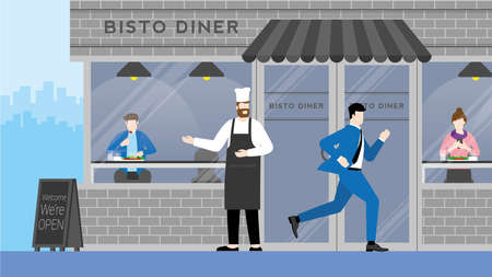 Urgent lifestyle concept. Business man run through bistro restaurant without interested. Hurry up in rush hour of occupation. Banner vector illustration flat style minimal design.