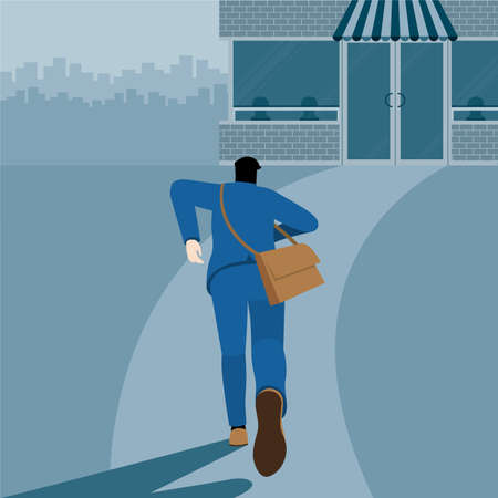 Urgent lifestyle concept. Back view of hungry business man running to eat some meal in food cafe. Hurry up in rush hour of occupation. Square vector illustration flat style minimal design.