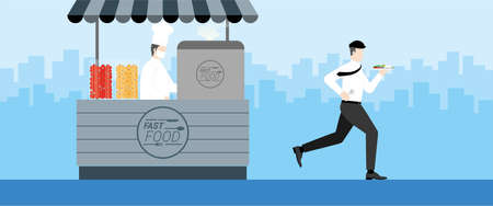 Urgent lifestyle concept. Office man run and take on the go ready to eat fast food from food shop kiosk. Hurry up in rush hour of occupation. Banner vector illustration flat style minimal design.