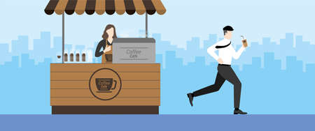 Urgent lifestyle concept. Office man running from coffee shop kiosk like marathon runner after drink coffee. Hurry up in rush hour of occupation. Banner vector illustration flat style minimal design.