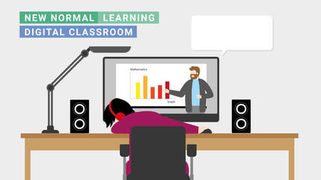 New normal online lifestyle. Using computer screen for learning from digital teacher at home. Sleeping from tired of studying. Distance education concept. Vector Illustration flat style minimal design
