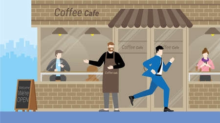 Urgent lifestyle concept. Business man run through coffee cafe without interested. Hurry up in rush hour of occupation. Banner vector illustration flat style minimal design.  イラスト・ベクター素材