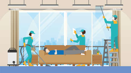 Lazy man sleep on sofa while cleaning crew team are cleaning living room. Clean and check inspector professional service for house. Vector illustration of cleaning business concept.