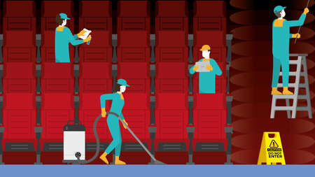 Cleaning crew team in cinema theater. Clean and check inspector professional service for protect the pandemic of COVID-19 coronavirus and the dirty. Re-opening business after quarantine.