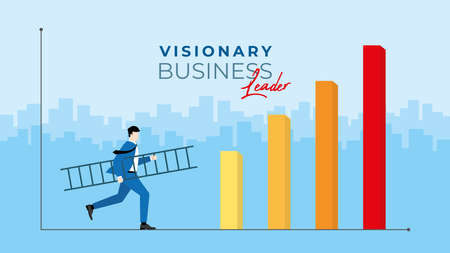 Business concept. Visionary business leader. Businessman holds the ladder and runs to confront to the economic crisis for business opportunity. Vector illustration flat style idea. Illustration