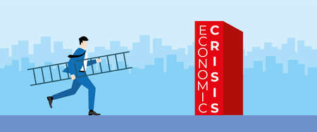 Business concept. Businessman hold the ladder and run to the obstacle for step over across the economic crisis. Vector Illustration flat style. Illustration