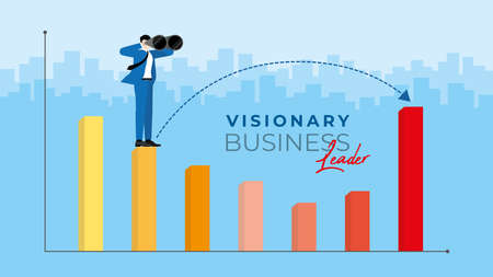 Business concept. Visionary business leader. Businessman uses binoculars to search for business opportunity.  Finding the way to across the economic crisis. Vector illustration flat style idea.