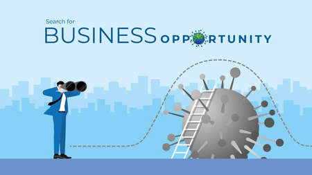 Business Vision concept. Businessman is using binoculars to search for business opportunity.  Finding the way to across the virus COVID-19 coronavirus. Vector Illustration flat style.