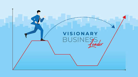 Business concept. Visionary business leader. Businessman run on the special way to across the economics crisis graph. Vector illustration flat style idea. Иллюстрация