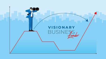 Business Vision concept. Businessman is using binoculars to search for business opportunity.  Finding the way to across the economic crisis from pandemic of virus COVID-19 coronavirus.