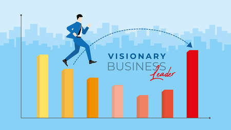 Business concept. Visionary business leader. Businessman jumping across the loss profit graph. Business vision opportunity to across the economic crisis. Vector illustration flat style idea. Vectores