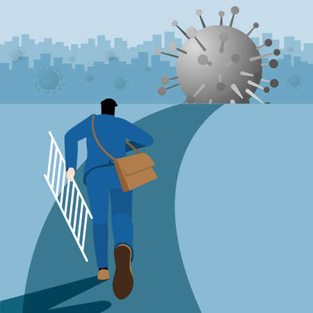Business concept. Businessman hold the ladder and run to the virus COVID-19 coronavirus for step over across the economics crisis from pandemic. Vector Illustration flat style.