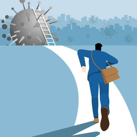 Business concept. Businessman is run to the virus COVID-19 coronavirus for climb the ladder and step over across the economics crisis from pandemic. Vector Illustration flat style.