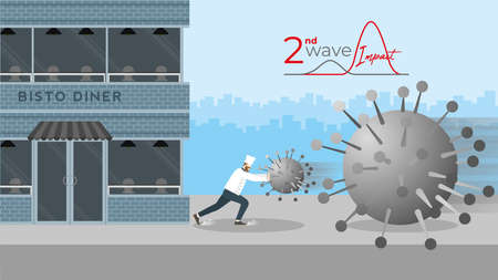 Second wave impact concept. Economic crisis of COVID-19 pandemic. Chef as business owner push the coronavirus for stop it to destroy his bistro cafe while the next bigger wave coming to clash.