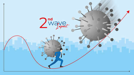 Business concept. Financial crisis of COVID-19 coronavirus pandemic. Businessman carry the virus as undertaking while the second bigger wave come to impact. Try to climb up the financial graph.
