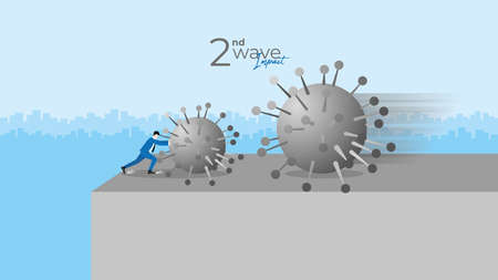 Second wave impact concept. Economic crisis of COVID-19 pandemic. Businessman resists the huge coronavirus by push it before he fall off the cliff edge while the next bigger wave come to clash.