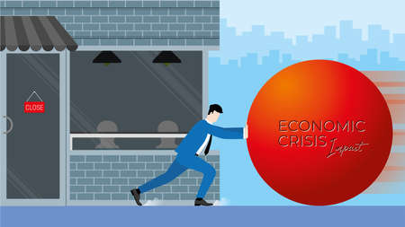 Business concept of economic impact from COVID-19 pandemic. Dead end of businessman fights and resists against crisis by push the big red ball to stop it before destroy his close business. Illusztráció