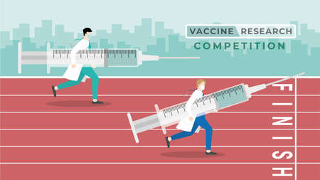 Medical concept. Vaccine research competition. A doctor carry big syringe run in race track with the other doctor to reach the finish line for get the vaccine first. International medicine contest. Vetores