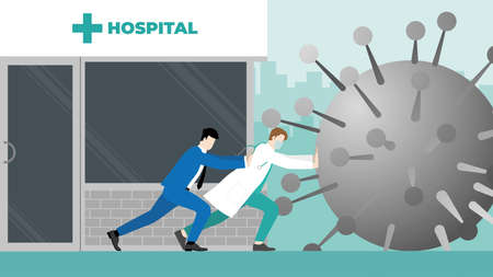 Business support and backup medical. Economic impact of COVID-19 pandemic. Doctor and businessman fight together against virus by stopping big coronavirus before it destroys their hospital.
