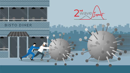 Business support and backup. Economic impact of COVID-19 pandemic. Chef and businessman fight together against virus by stop it to destroy his bistro cafe while the next bigger wave coming.