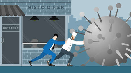 Business support and backup. Economic impact of COVID-19 pandemic. Chef and businessman fight together against virus by stopping giant coronavirus before it destroys their bistro cafe.