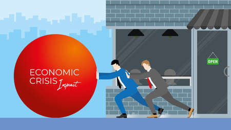 Business support and backup concept of economic impact from pandemic. Businessmen fight and resist together against crisis by push the big red ball to stop it before it destroy their shop.