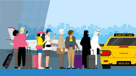 Travel concept of Diversity people standing at taxi waiting queue line at the International airport. Diverse couple of Muslim, LGBT, Asian and Interracial using mobile phone.