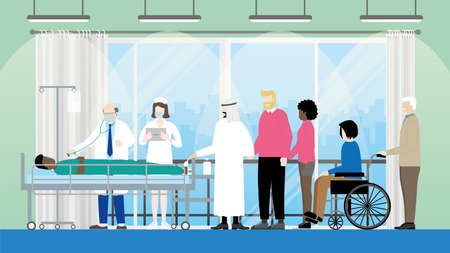 Friendship concept of Diversity people in hospital room for visit sick black man lying in bed that doctor and nurse stand and checking his pulse. LGBT, Muslim, Interracial couple, Handicapped.