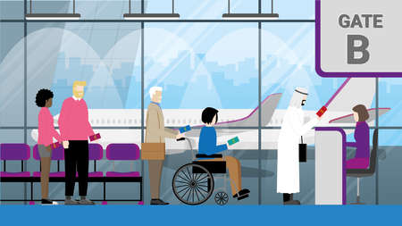 International airport. Travel concept of diversity people holding passports and standing at boarding gate waiting queue line. LGBT, Muslim, Interracial couple, Handicapped wheelchair with his father.