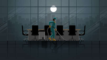 A woman cleaning maid service working in office meeting room. Alone in the dark and full moon light. Lonely people in city. Lifestyle work hard overtime and overwork. Idea illustration concept idea. Stock fotó - 155864879