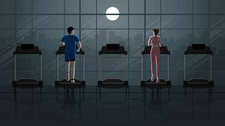 Back view of city lifestyle. Love at first sight between man and woman running on treadmill in empty fitness center at night in the dark and full moon light. Idea illustration romantic scene concept. 일러스트