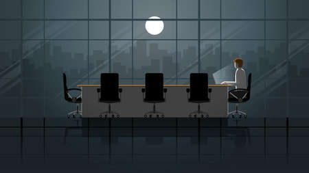 Employee working on laptop in office meeting room. Alone in the dark and light from full moon. Lonely people in the city. Lifestyle of work hard overtime and overwork. Idea illustration concept scene.