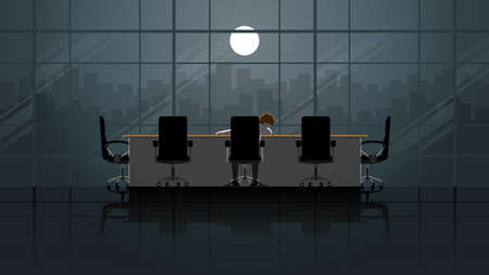A office man sit and sleeping in office meeting room workplace at night. Alone in the dark and full moon light. Lonely people in city. Lifestyle of work hard overtime and overwork. idea concept scene. Illusztráció