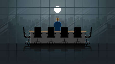 Vision concept. Businessman stand and thinking at the window of office building in meeting room at night. Alone in the dark and full moon light. Business lifestyle is work hard overtime and overwork. Vector Illustratie